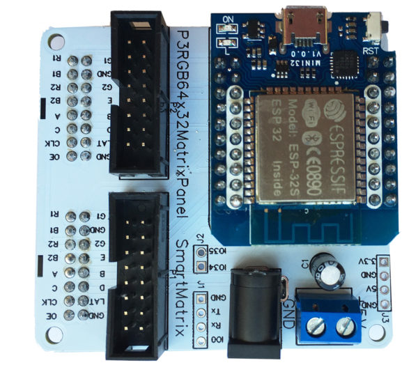 RGB MATRIX PANEL SHIELD FOR Mini32 ESP32 Development Board